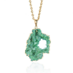 Green Agate Crystal Druzy Gold Necklace