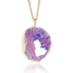 Violet Cosmos Crystal Druzy Necklace