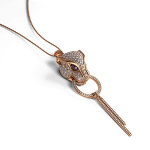 Panthera by Keysi Sayago | 18k Rose Gold | Cubic Zirconia Crystal Necklace