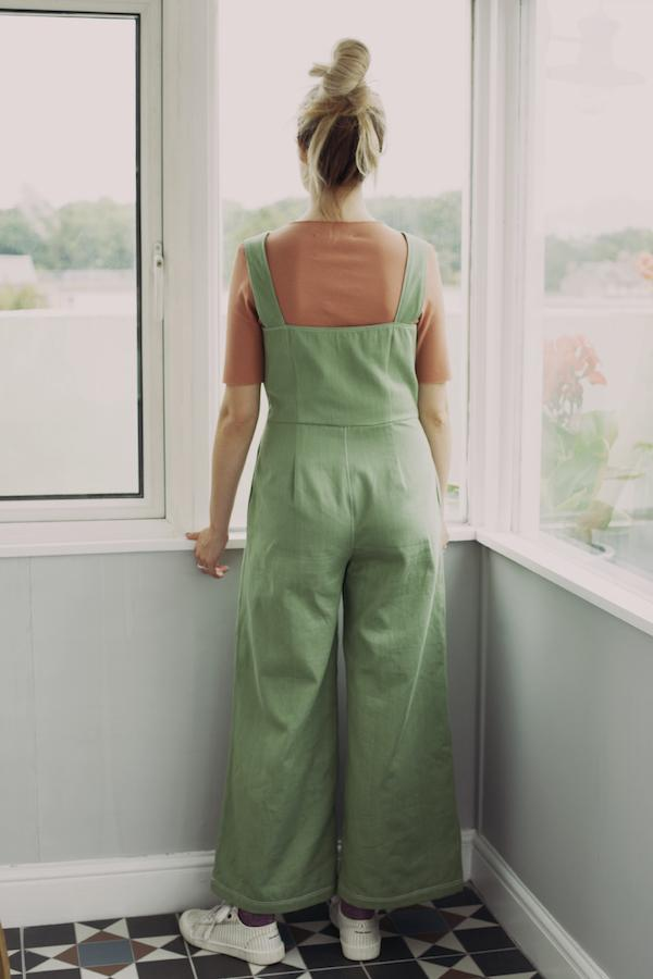 Sanford Jumpsuit in Chalk Green Organic Cotton Denim