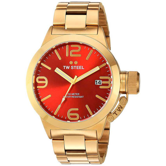 TW Steel CB111 Men's Canteen Quartz Red Dial Gold-Tone Watch