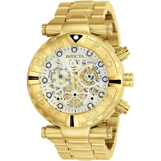 Invicta 24990 Men's Subaqua Quartz Chronograph Silver, Gold Dial Large Size Watch
