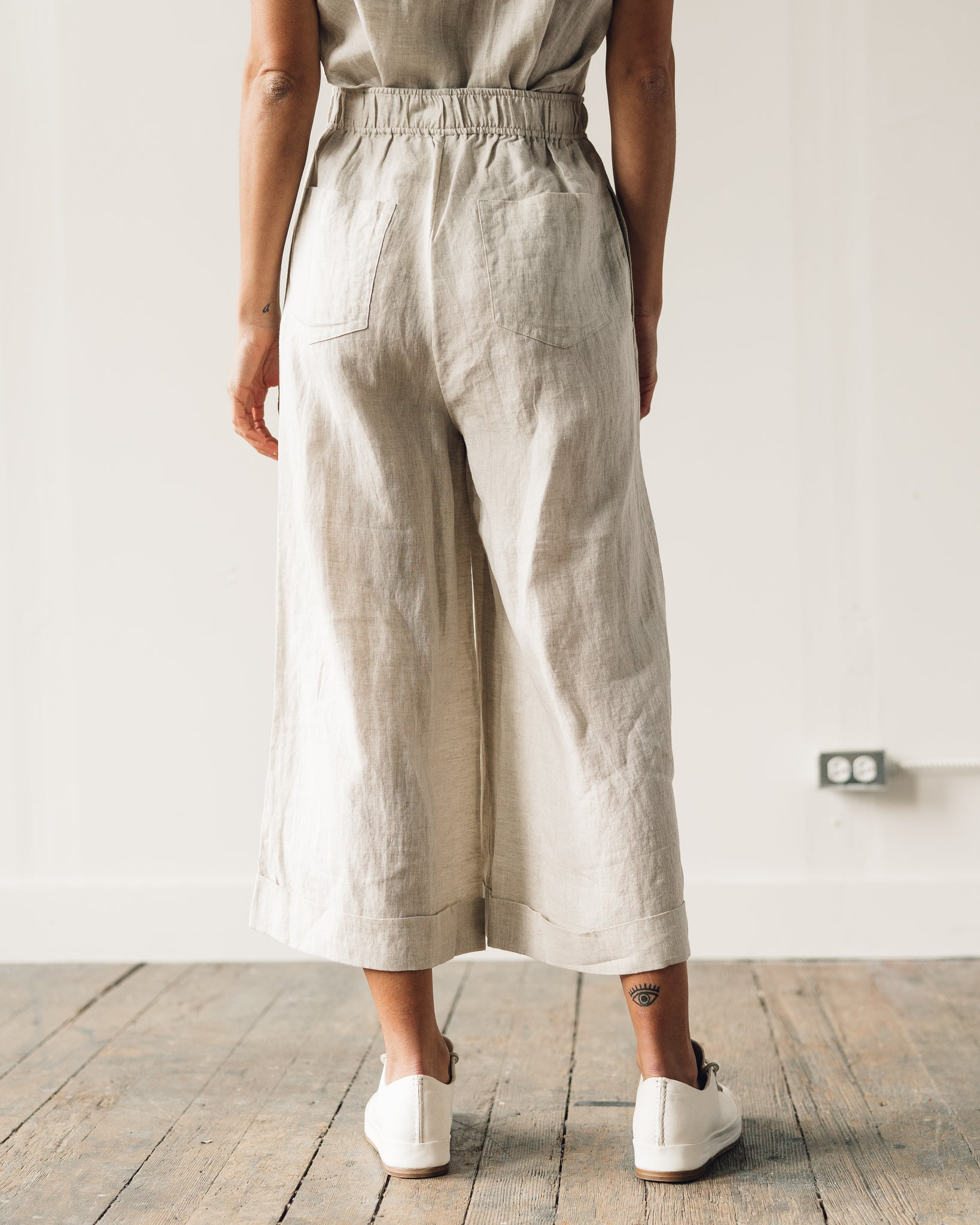 7115 Elastic Wide-Legged Trousers, Beige