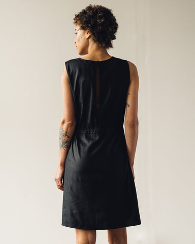 Ali Golden Slit-Back Dress, Black