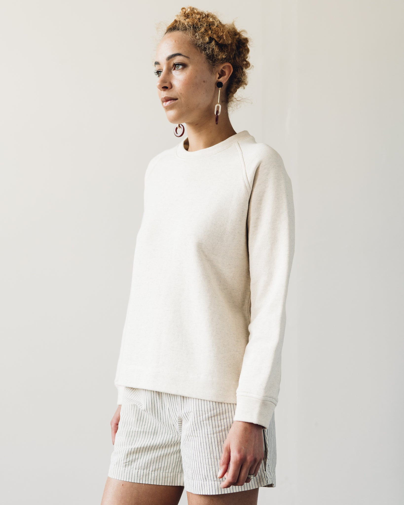 Folk Multi Stitch Sweat, Ecru Melange