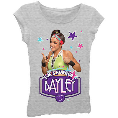 Bayley I'm a Hugger Superstar Girls Kids Grey T-shirt