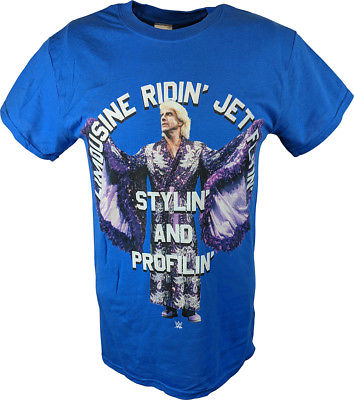 Ric Flair Limousine Stylin' and Profilin' WWE Mens Blue T-shirt
