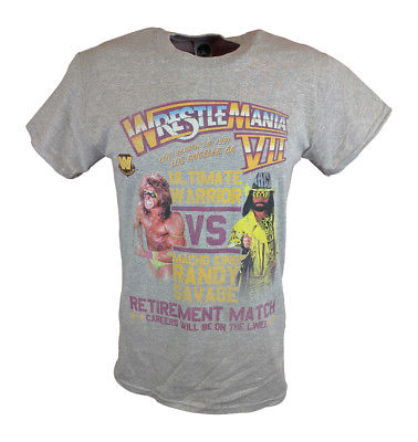Wrestlemania 7 Ultimate Warrior vs Macho Man Randy Savage WWE Mens T-shirt
