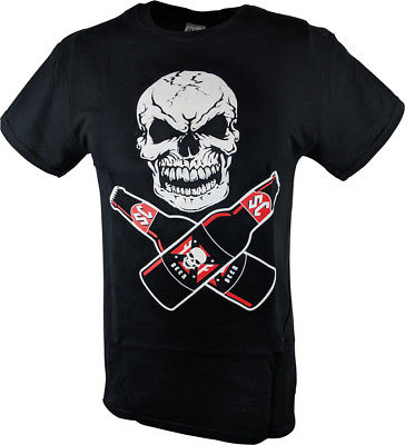 Stone Cold Steve Austin Drink Beer Skull Flag Mens Black T-shirt