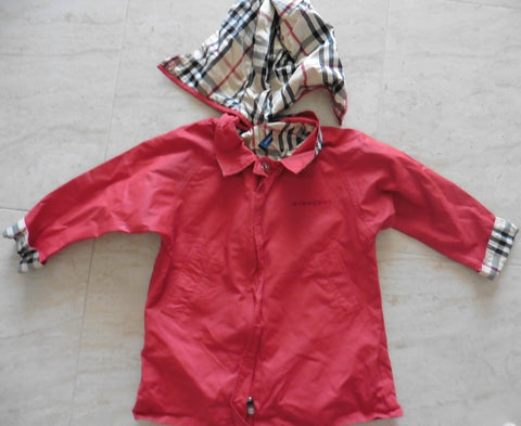 BURBERRY red coat 2y fits 4y