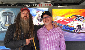Magnus Walker checking out his #277 Porsche painting by Telfer