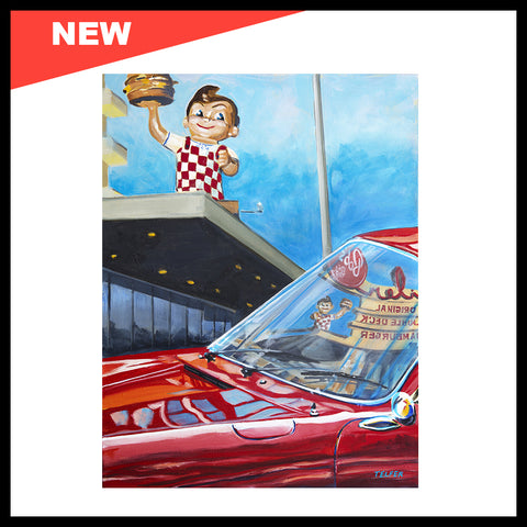 "NEW! 'Bob's Big Boy Reflected in Porsche 911 Windshield', 18"" x 24"", Acrylic on Canvas, Call for Price"