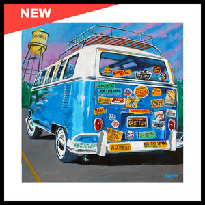 "NEW! 'VW Bus Stickermania', 24"" x 24"", Acrylic on Canvas, Call for Price"
