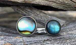 Abalone/Labradorite 2cap - Valou ::: Home of the Original 3cap ring design :::