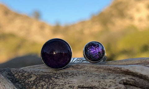 Amethyst/purple glass 2cap - Valou ::: Home of the Original 3cap ring design :::