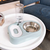 Cat bowl stainless steel dog bowl double bowl non-wet mouth automatic drinking water dual-use cat pet food dog food bowl cat supplies