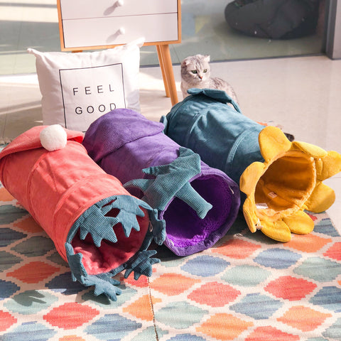 Corduroy cat drill tube cat litter cat toy cat supplies channel folding cat vegetable cat tunnel plush