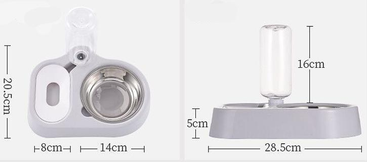 Stainless Steel Double Pet Bowls - Non-Wet Mouth Automatic Drinking Water