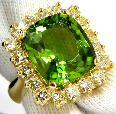 GIA 15.25ct NATURAL VIVID GREEN CUSHION PERIDOT DIAMOND RING COCKTAIL