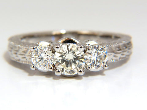 1.09CT NATURAL ROUND BRILLIANT DIAMOND RING CLASSIC THREE ENGAGEMENT