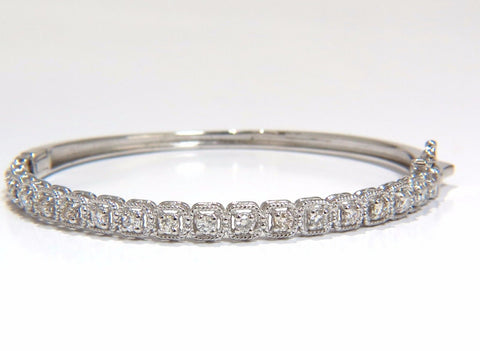 .90CT SQUARED ROPE TWIST ENCASE NATURAL DIAMONDS BANGLE BRACELET 14KT