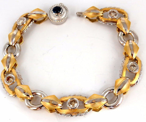 1.40ct natural fancy color brownish yellow diamonds hinge bracelet 14kt