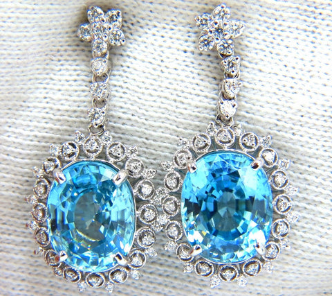 12.46ct Natural Bright vivid indigo blue zircon diamond earrings 14kt edwardian