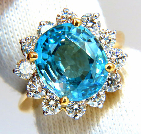 Freedom Indigo Pure Blue Natural Zircon Diamond Ring 10.05ct 14kt