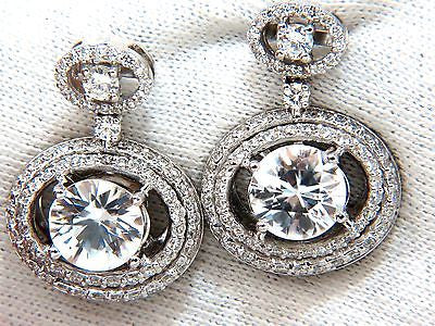 10.90CT NATURAL ZIRCON DIAMONDS DANGLE DROP EARRINGS 14KT
