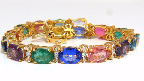 33.21ct natural Sapphires Garnets Emeralds Spinel Tourmaline Zircon Bracelet 14k