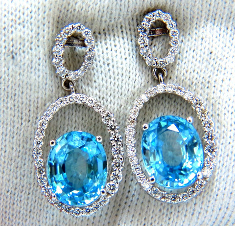 8.86ct natural vivid indigo blue zircon diamonds dangle earrings 14kt