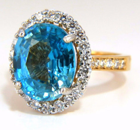 GIA Certified 7.83ct natural greenish blue zircon diamonds ring halo raised
