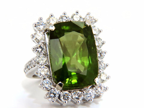 GIA Certified 18.58ct natural green peridot diamond ring 18kt