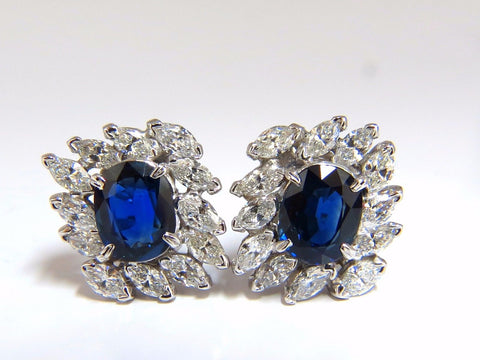 GIA Certified 11.16ct Natural Royal Blue sapphire diamond earrings Platinum