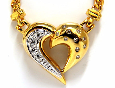 .25ct natural diamonds heart necklace 14kt yellow gold 16'