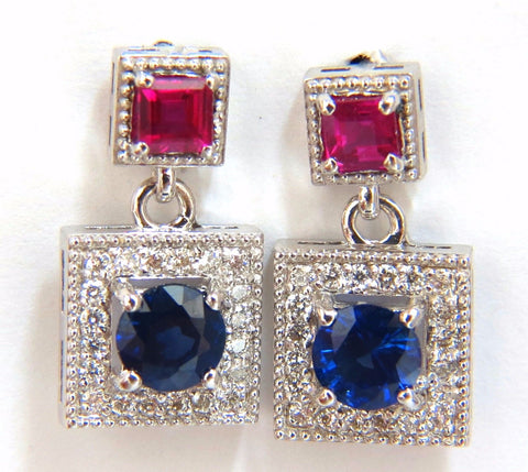 2.12ct natural sapphire ruby diamond dangle earrings 14kt petite