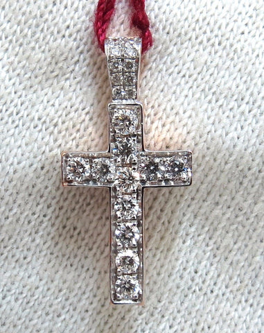 .50ct natural diamonds rounds cross necklace 14kt Petite Class