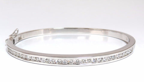1.30ct natural round diamonds bangle bracelet g/vs channel 14kt