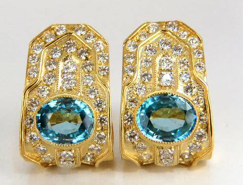 13.14ct natural vivid blue zircon diamonds clip earrings 18kt