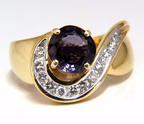 2.66ct Natural Vivid Purple Spinel Diamonds Swirl Ring 14kt.