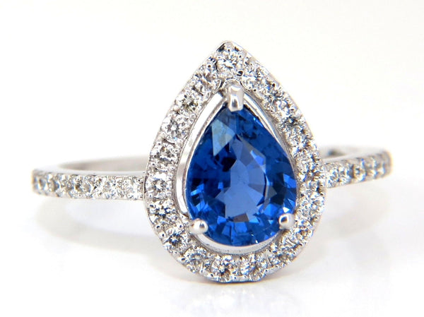 1.98ct natural sapphire diamonds halo pear ring 14kt