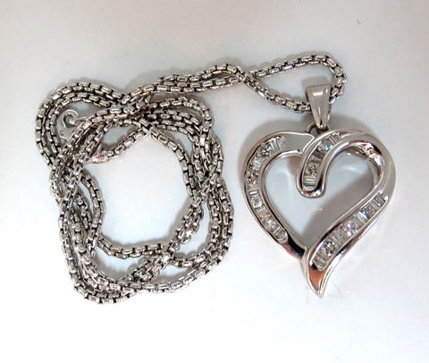 .50ct Open Heart Rounds & Baguettes Diamond Necklace 14 karat
