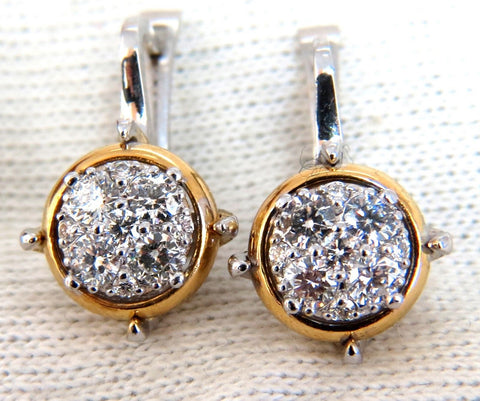 .76ct Mod Prime Spanish Goth Lever Natural Diamond Clip Earrings 14 Karat