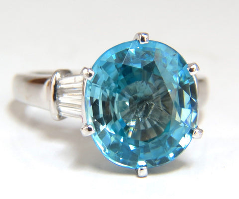 7.66ct Natural Indigo Blue zircon Diamonds Ring 14kt