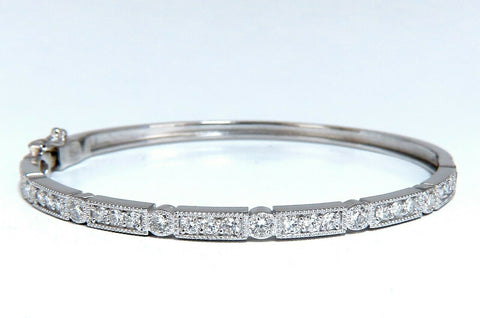 1.60ct Natural Diamonds Bangle Bracelet Edwardian Deco 14 Karat