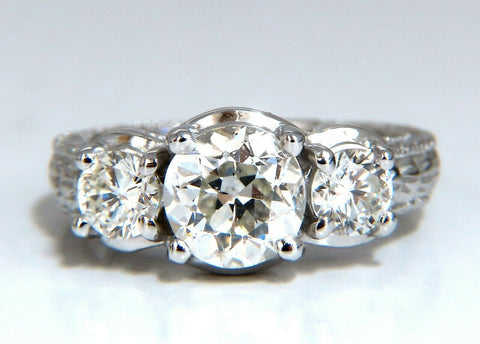 1.70ct Natural Round Diamond Engagement ring Classic Three 14 Karat