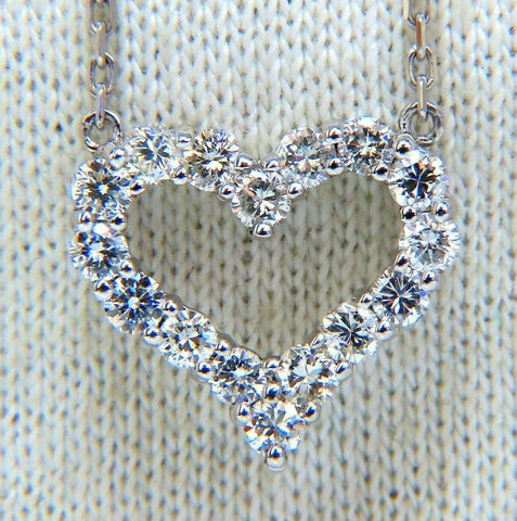 .80ct Heart Natural diamonds necklace 14 karat