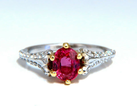 AIGS Certified 1.07ct Natural Pink No Heat Ruby Diamonds Ring 14 Karat