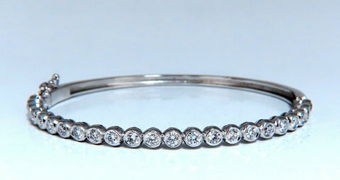 1.63ct Natural Round Diamonds Bezel Flush Set Bangle Bracelet 14 Karat