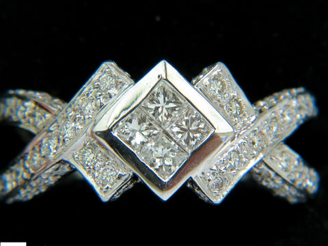 1.00CT CLASSIC PRINCESS CLUSTER & ROUNDS CROSSOVER RING SPLIT SHANK